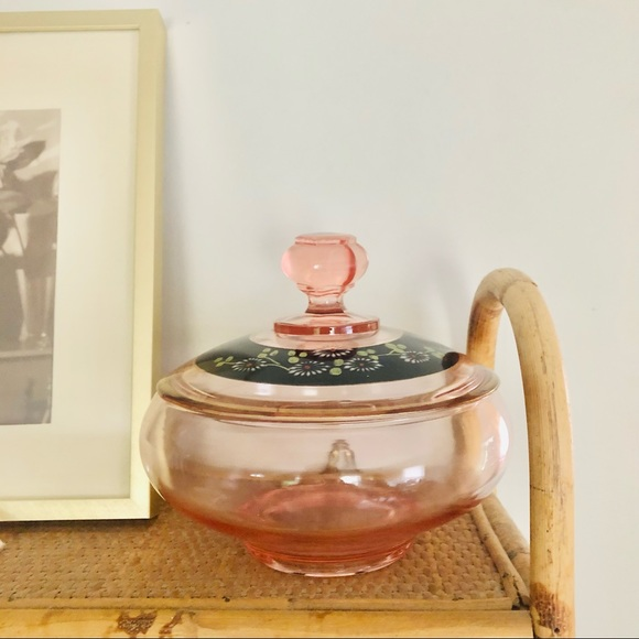 Vintage Painted Floral Pink Glass Covered Dish